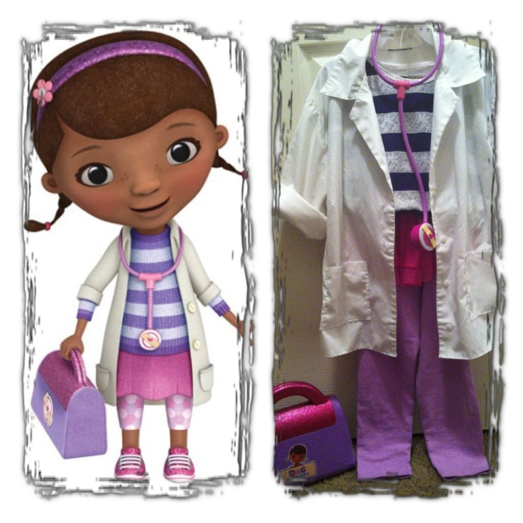 DIY Doc Mcstuffins Halloween Costume. Toys purchased from Walmart ...