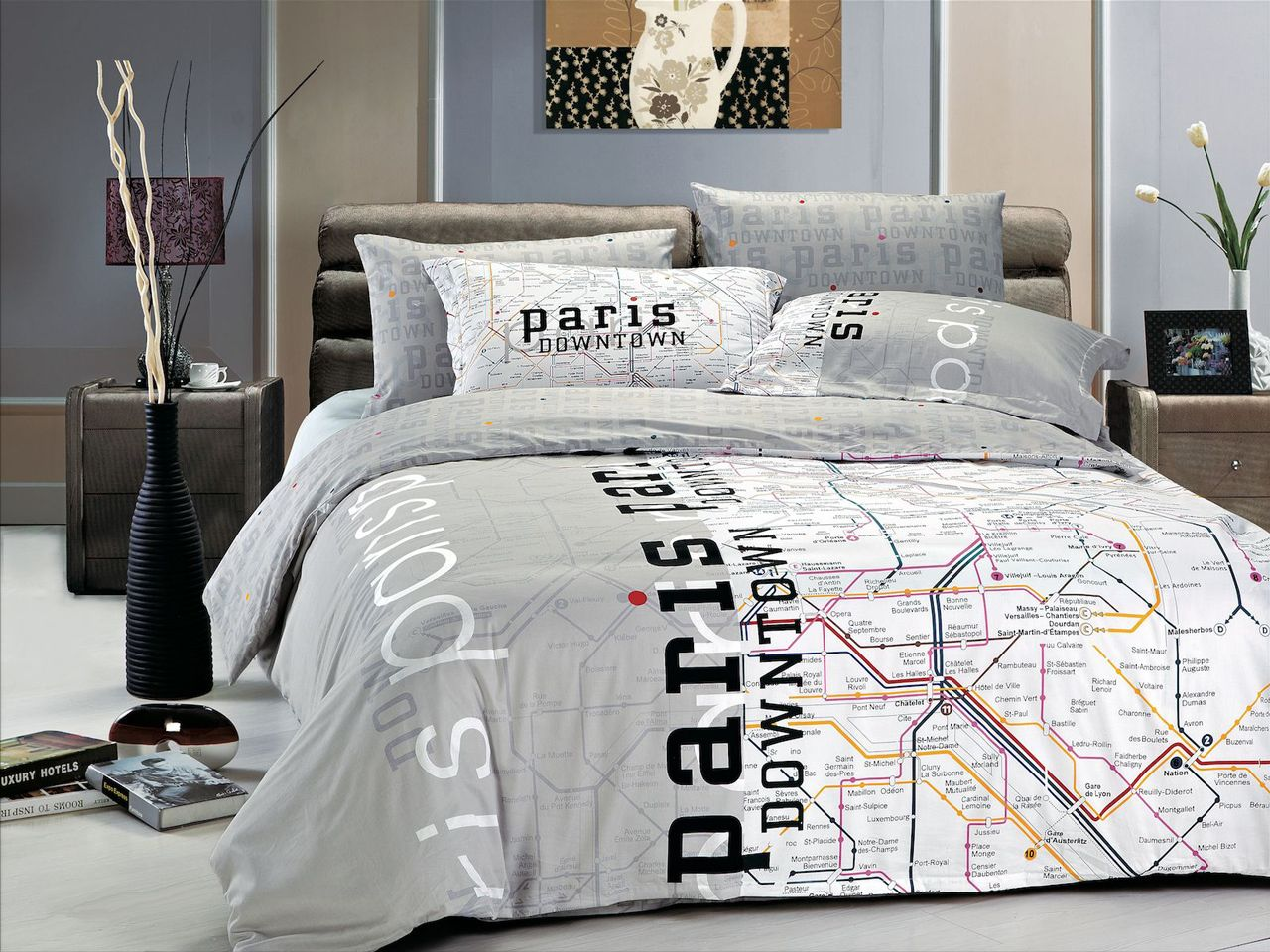 paris map modern teen bedding twin or fullqueen duvet cover set  - paris map modern teen bedding twin or fullqueen duvet cover set grey blackwhite