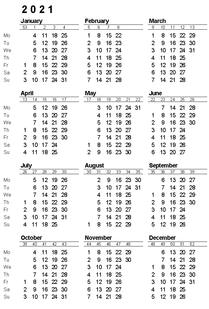 2021 Yearly Calendar With Week Numbers In 2020 Yearly Calendar Calendar Calendar Printables