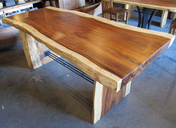 boise company--Natural Edge Dining Table with Bar Stock Trestle Impact  Imports of Boise - Reclaimed Wood Boise WB Designs