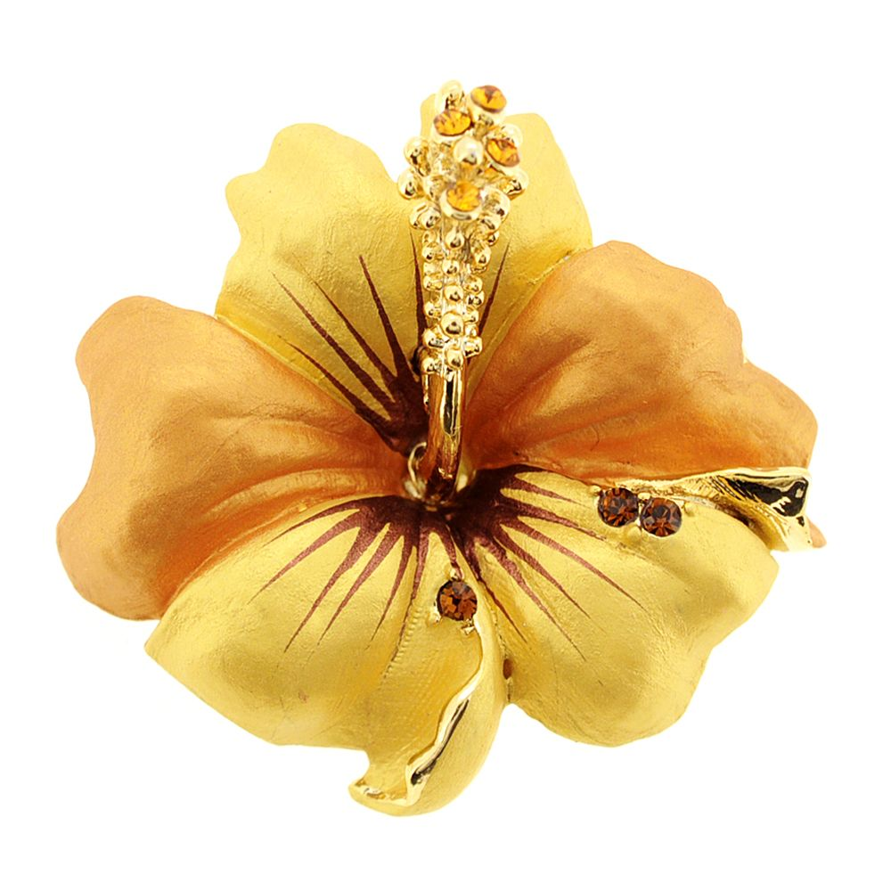 54079bc6931 Small Golden Hawaiian Hibiscus Swarovski Crystal Flower Pin Brooch and  Pendant
