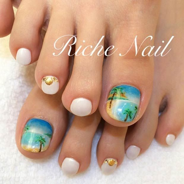 Beach, summer, ocean Free Hand Toe Nail Art This is an example of why - 31 Adorable Toe Nail Designs For This Summer Toe Nail Art, Toe