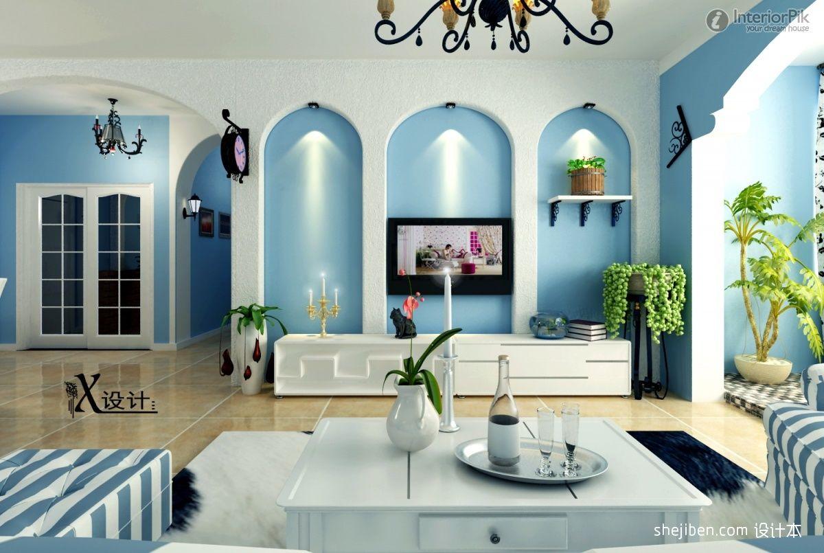 Mediterranean Interior Design: Picturesque Eastern Mediterranean Decoration  Living Room Tv Background Wall Renderings With Chandelier