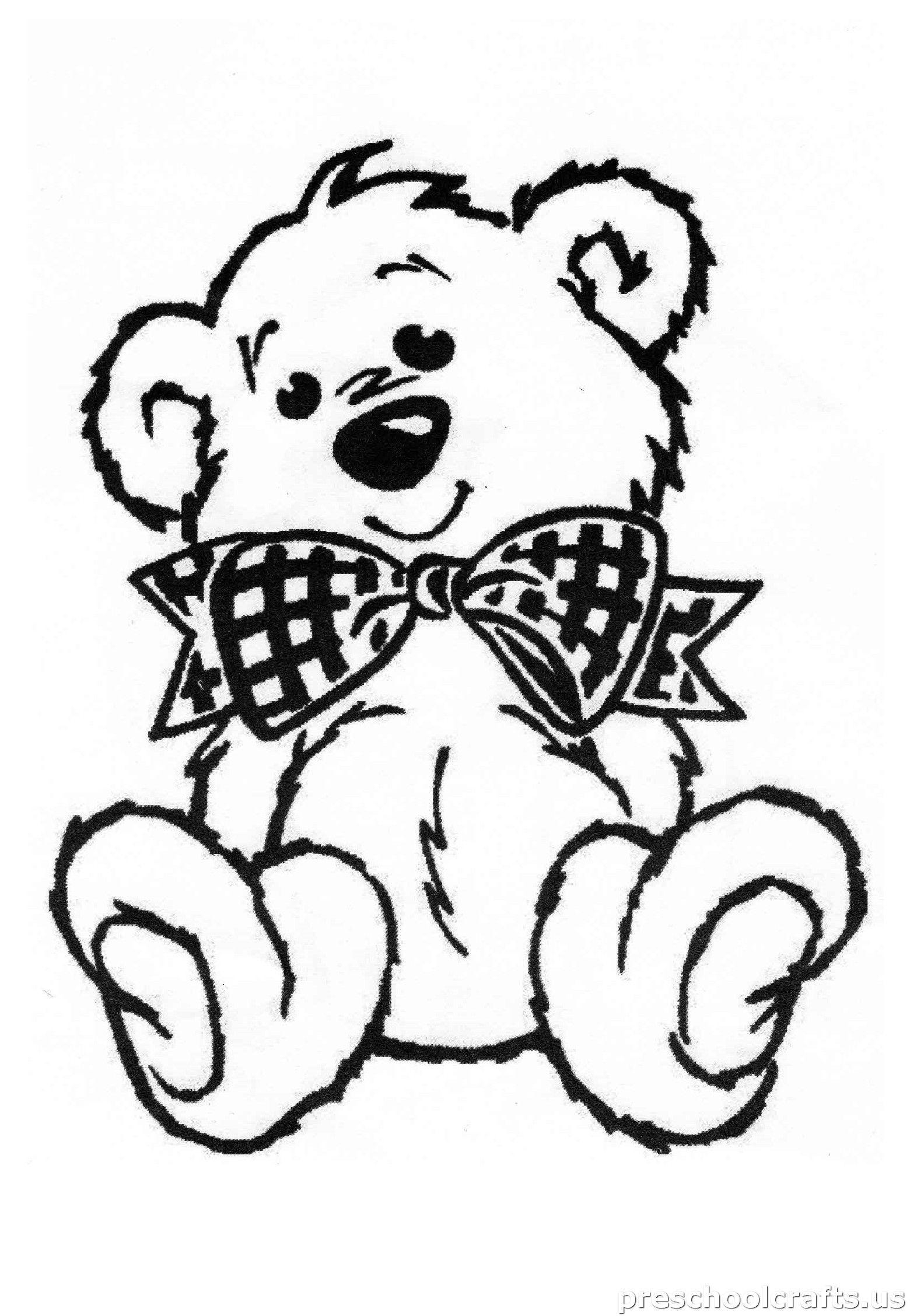 Bear Coloring Page For Kids Preschool And Kindergarten Bear