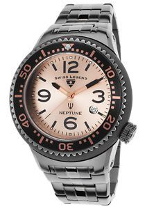 Buy Swiss Legend 21848P-GM-99 Mens Neptune Force Gunmetal IP Steel Rose-Tone