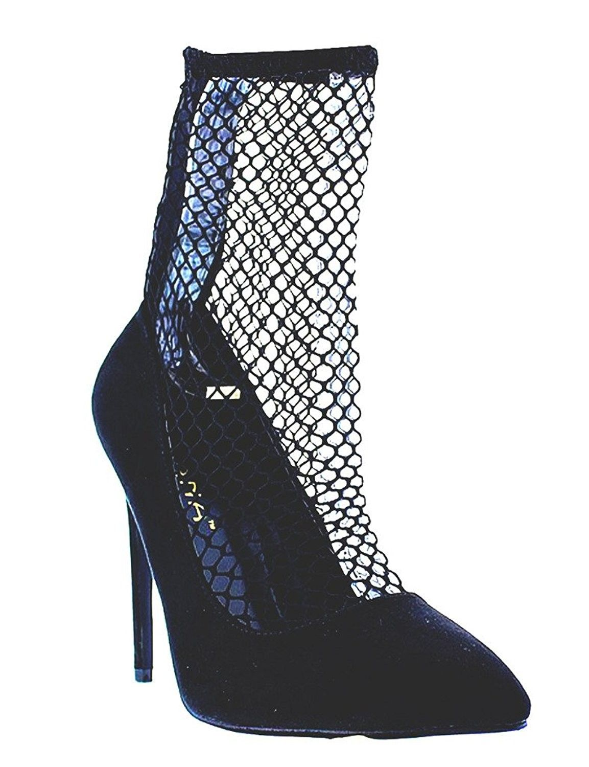 2a653119070 Fishnet Mesh Inset Pointy Toe Bootie Pump Xaya-20 - Black ...