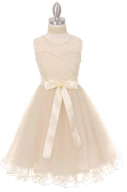 985d5a9b0deb Elegant soft tulle Tween Dress has a wired hem with scarf and satin ribbon.  This Ivory Tween Dress is so elegant with its lace bodice.