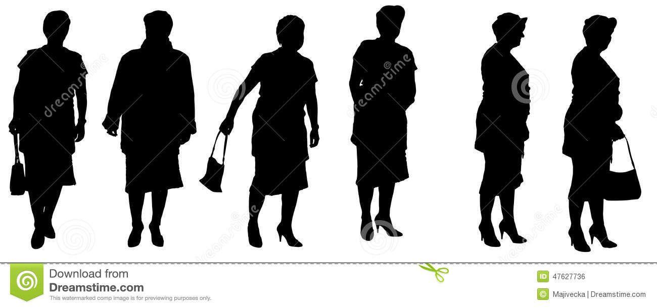 silueta-del-vector-de-una-mujer-mayor-47627736.jpg (1300×610)