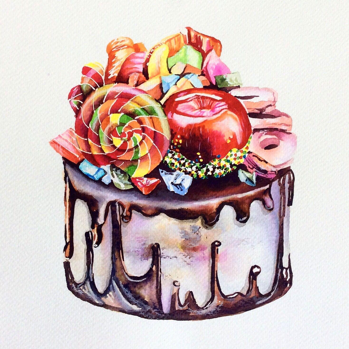 торт рисунок акварелью отличный действенный