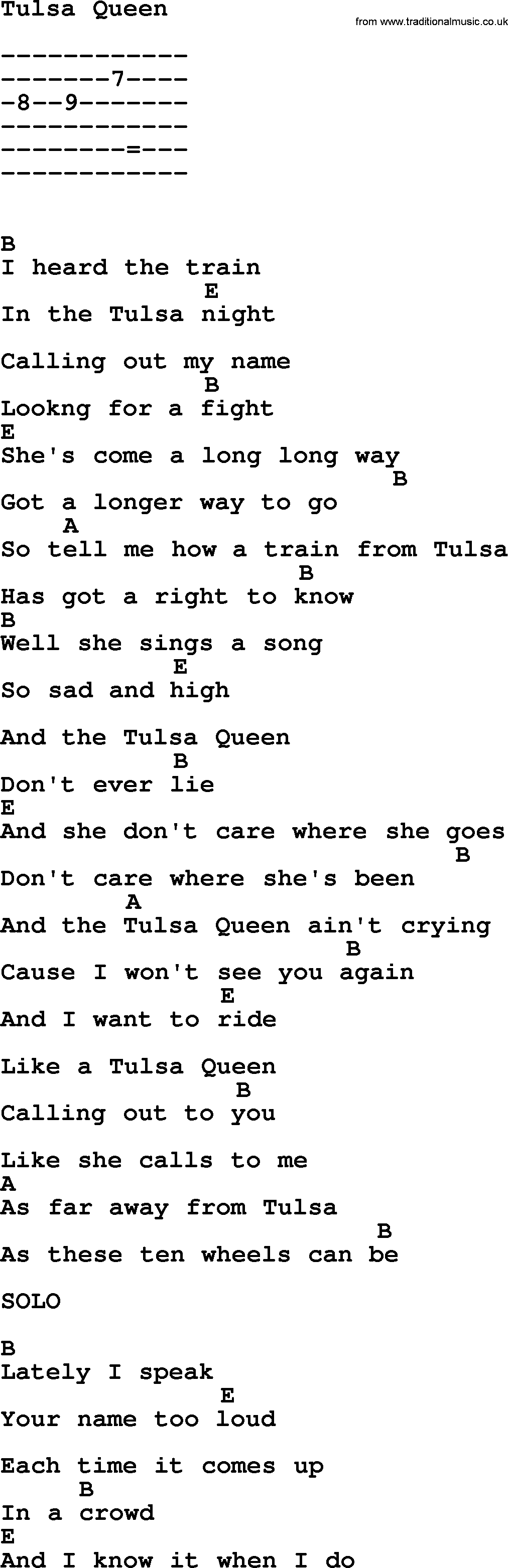 Emmylou Harris Song Tulsa Queen Lyrics And Chords Guitar Crank