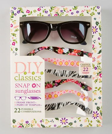 Another great find on #zulily! Black Floral Zebra Snap-On Sunglasses Set by Eye Design #zulilyfinds
