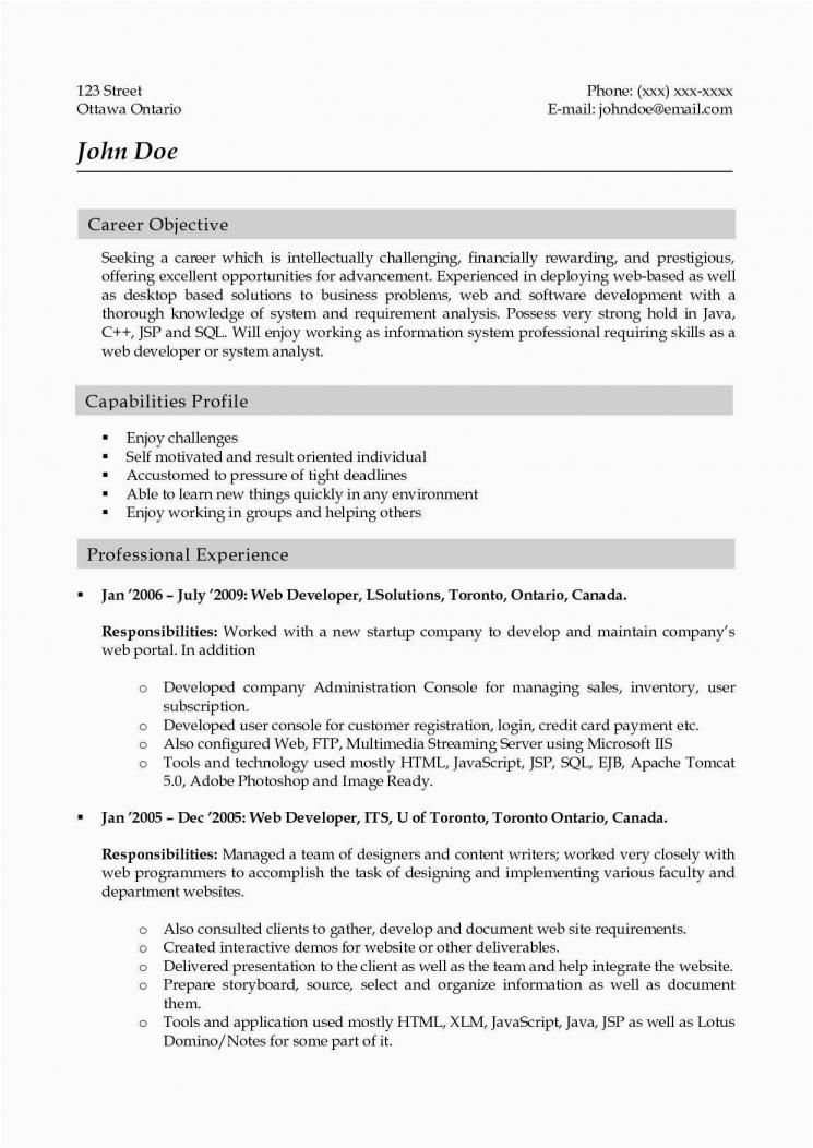 Resume Objective Example Web Developer There Are Two Kinds Of