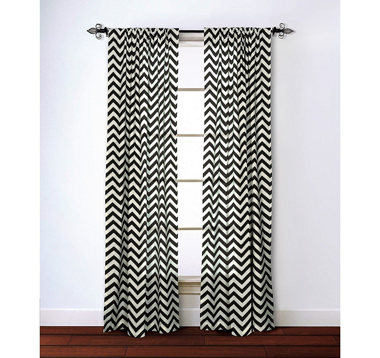 Black White Chevron Window Curtain 95 Inch Zig Zag Single