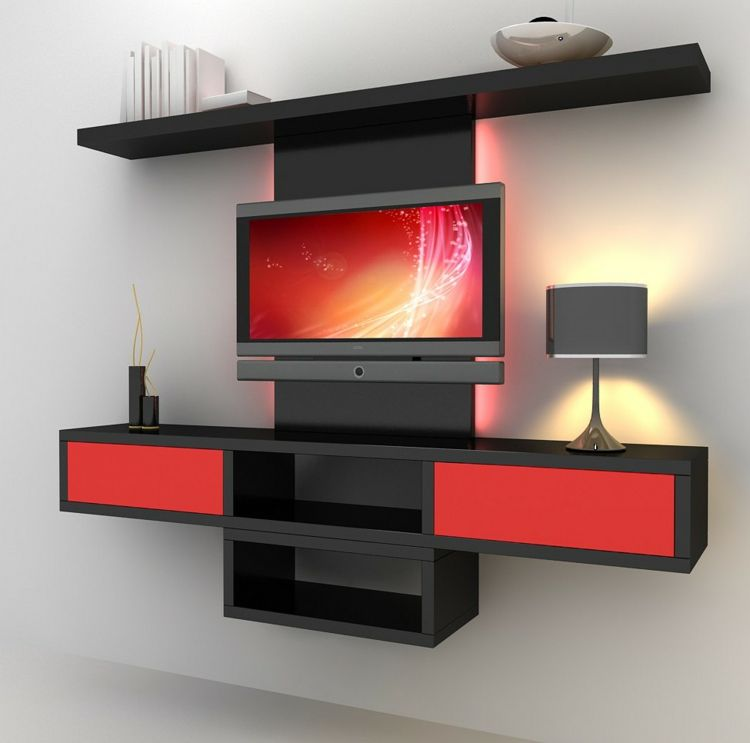 rangement salon moderne et meuble de t l moderne en rouge. Black Bedroom Furniture Sets. Home Design Ideas