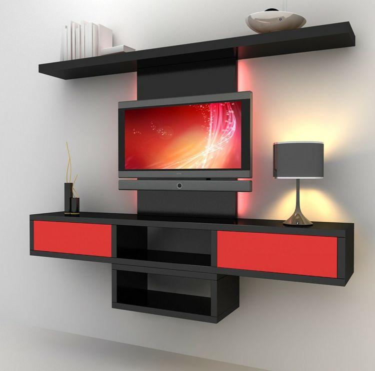rangement salon moderne et meuble de télé moderne en rouge et noir