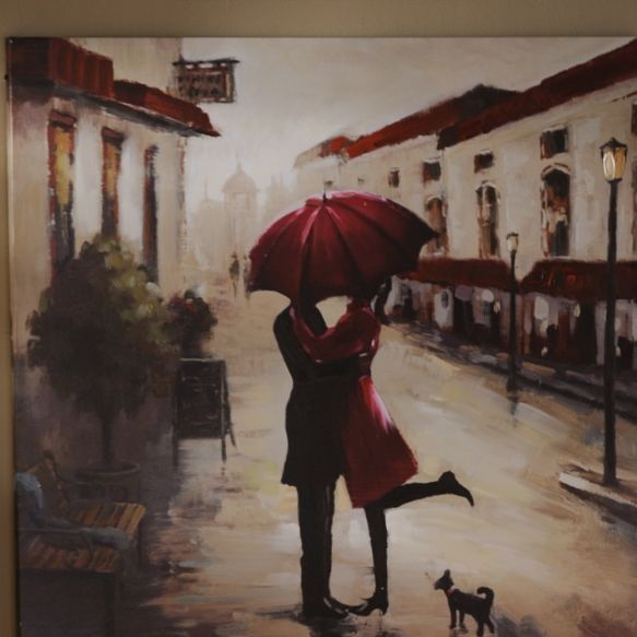 Paintings On Canvas Of People With Umbrella's