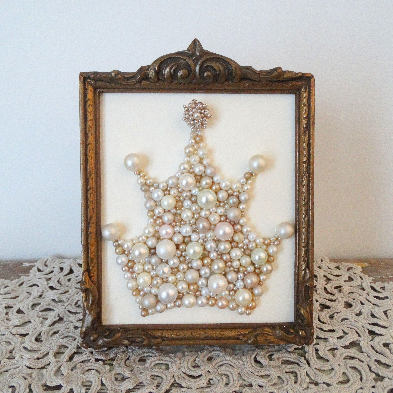 Princess Crown Wall Art. Pearl Mosaic. Champagne Cream