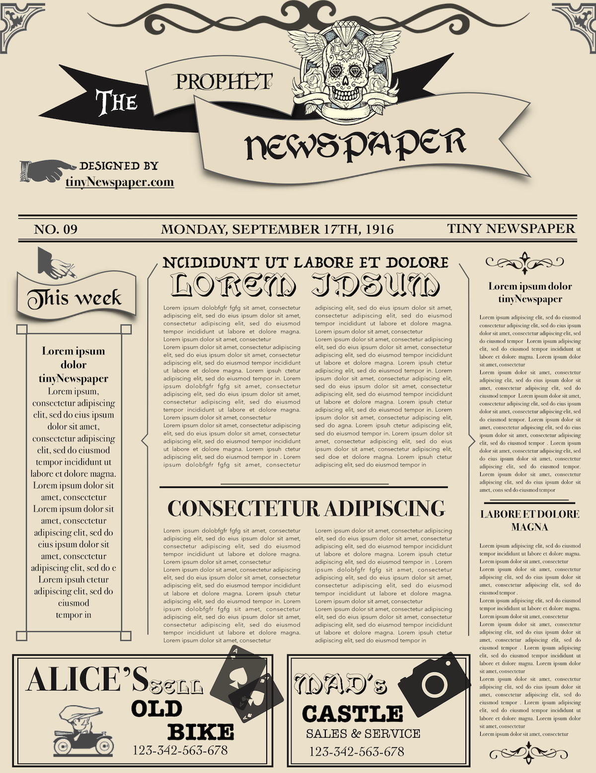 The Vintage Newspaper Layout Template Word