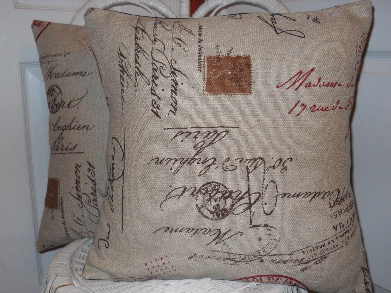 French Script Pillow 12 X12 Paris Script Pillow Cover