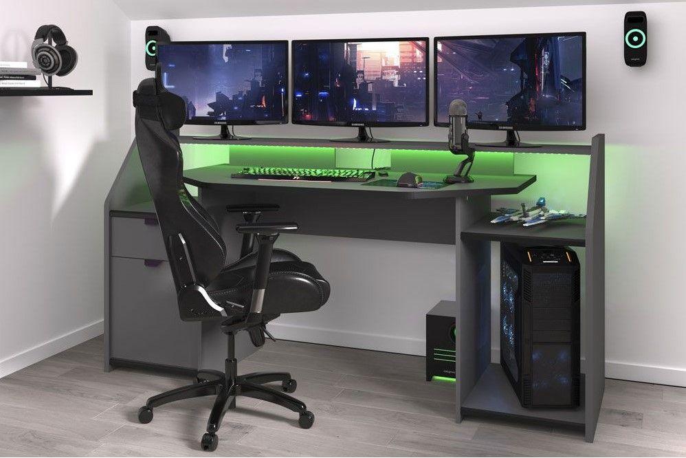 Incroyable GAMING Bureau de gamer Gris ombre pas cher prix Bureau Cdiscount XD-38