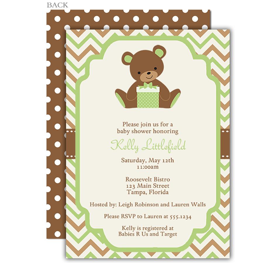 Chevron Teddy Bear Baby Shower Invitation   Teddy bear baby shower ...