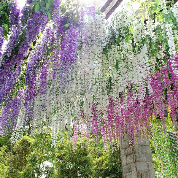 6x Artificial Silk Wisteria Fake Garden Hanging Flower Vine Wedding Plant  Decor