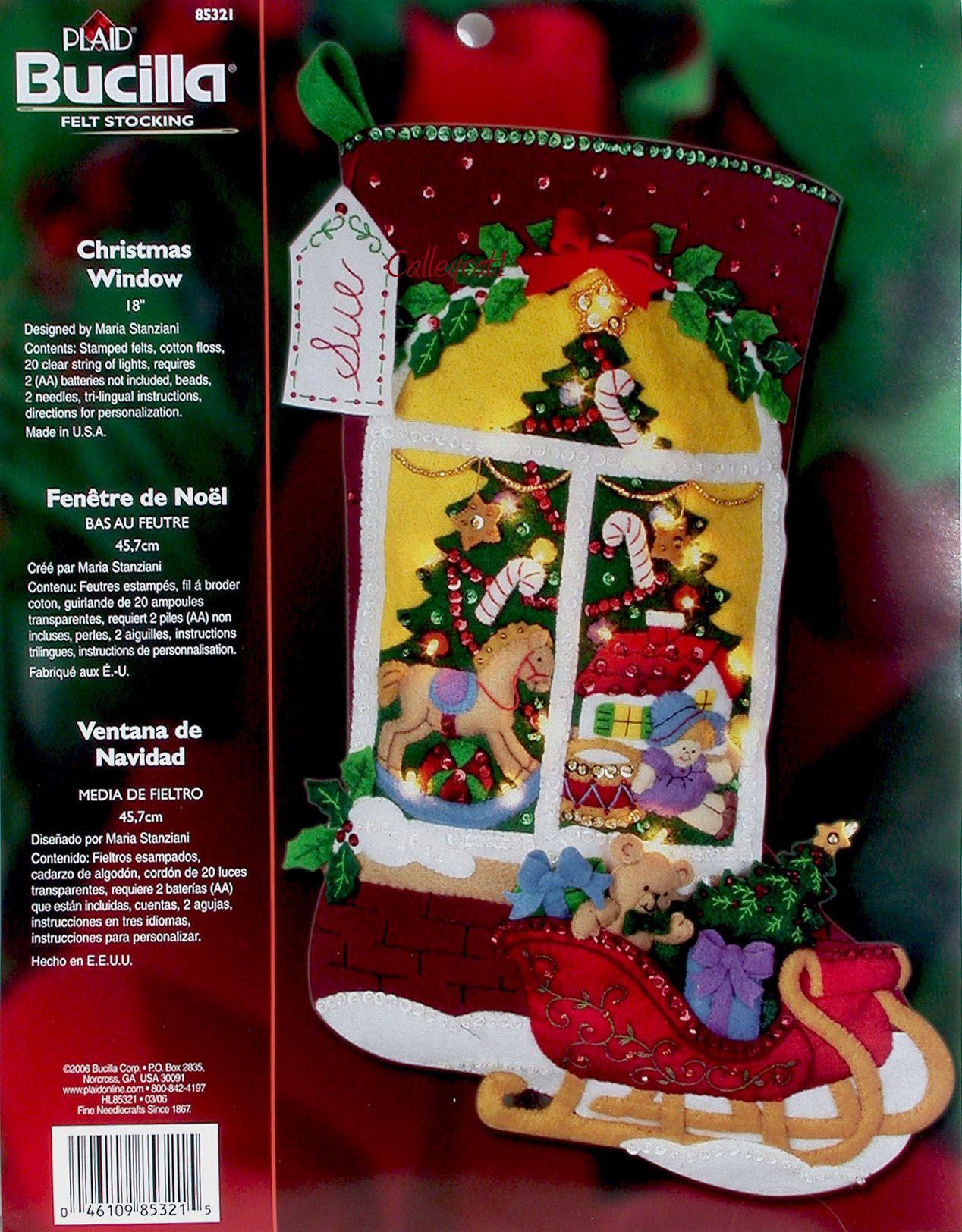 Christmas Window 18 Bucilla Felt Christmas Stocking Kit W Lights