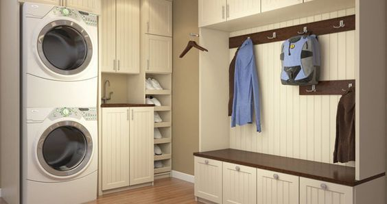 Lago Belissima White Mudroom And Laundry Room Combination
