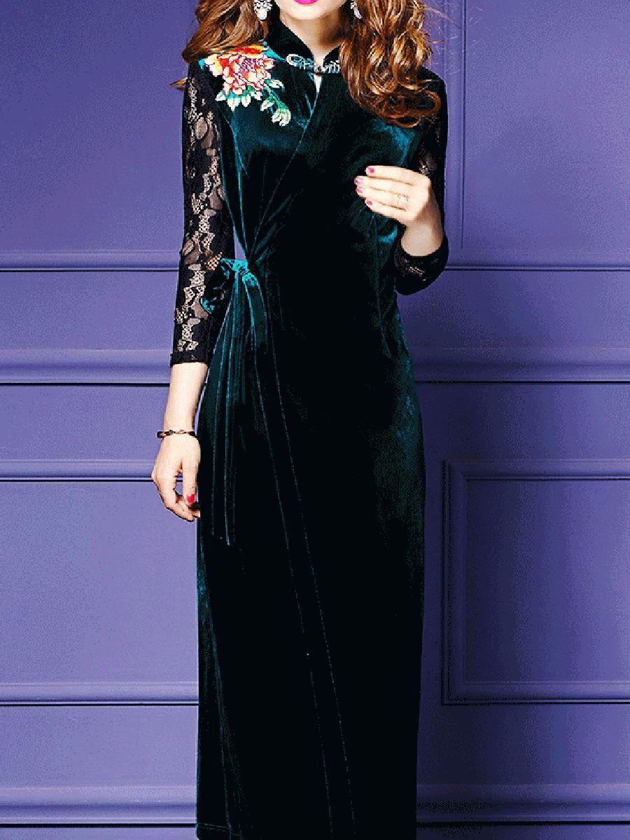Fashionmia - #Fashionmia Band Collar Patchwork Embroidery Velvet ...