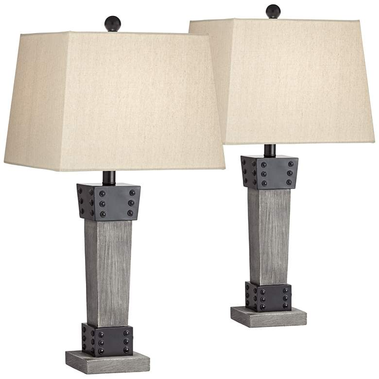 Jacob Gray Wood Led Table Lamps With Dimmers Set Of 2 79g38 Lamps Plus In 2021 Farmhouse Table Lamps Lamp Table Lamp Sets