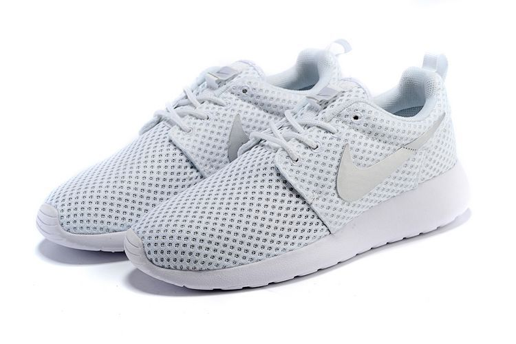 Custom Bright White Upper Nike Unisex Roshe Run White Metallic Silver