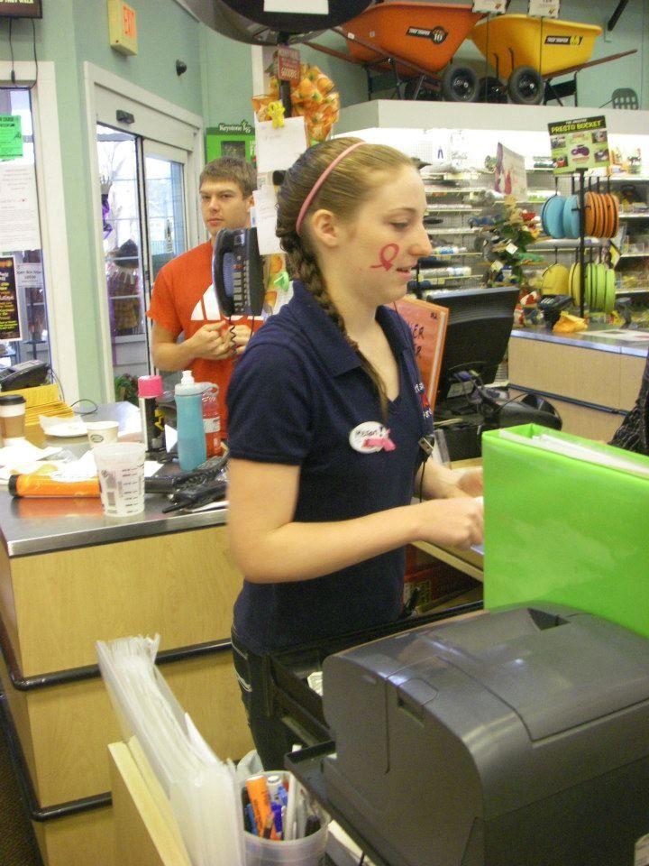 Megan helping a customer! Goffstown, Employee, Megan
