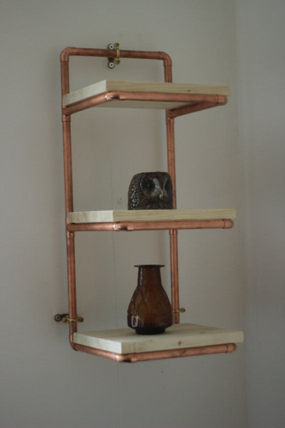 Three Tier Natural Finish Pine And Copper Pipe Display Shelves/Shelving  Unit   Bespoke Industrial