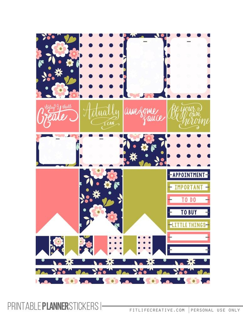 Free Printable Midnight Garden Planner Stickers from Fit Life Creative
