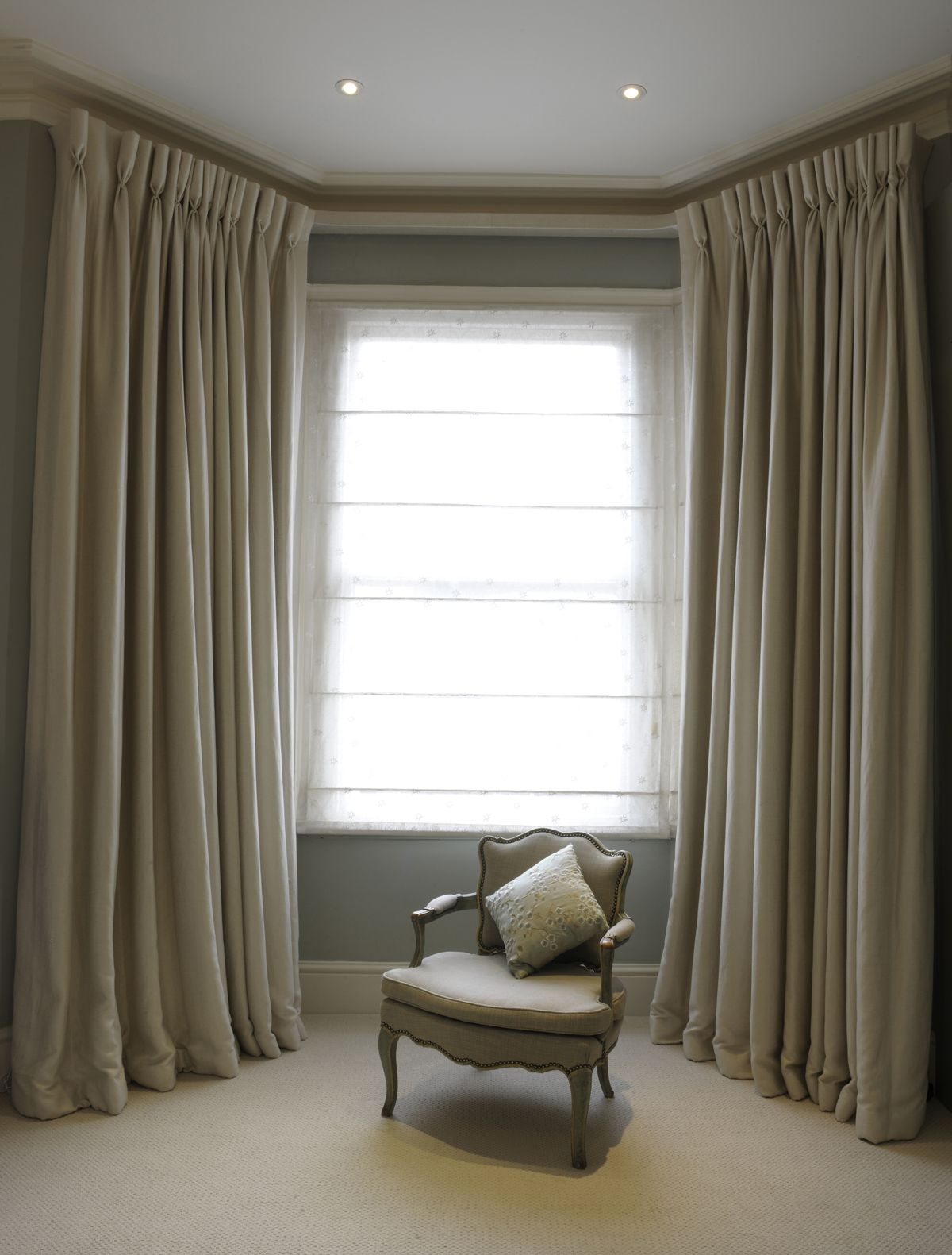 Bespoke Cream Curtains With Goblet Pleat Heading Covered