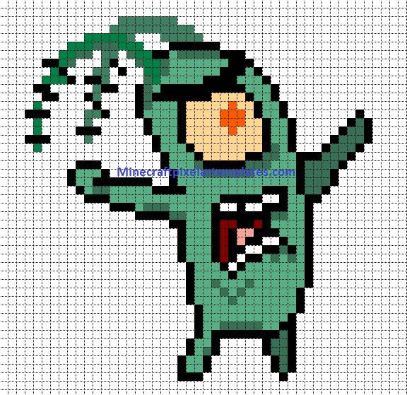 Minecraft Pixel Art Templates: Plankton (SpongeBob)