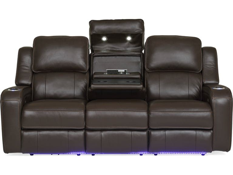 Living Room Palermo Leather Power Reclining Sofa Chocolate