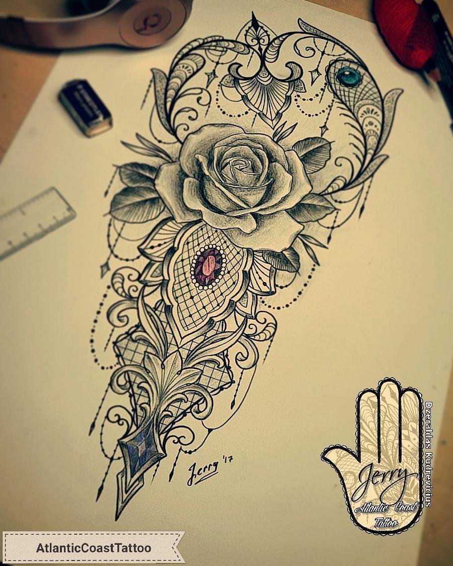 188 Likes 3 Comments Dzeraldas Jerry Kudrevicius Atlantic Coast Tattoo On Instagram Been Working On This Last Fe Lace Tattoo Design Lace Tattoo Tattoos