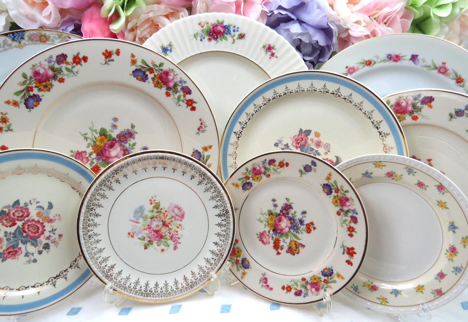 RESERVED 12 Pc Mismatched Dinnerware Set ~ Service for 4 ~ Vintage Fine China ~ Dinner & RESERVED 12 Pc Mismatched Dinnerware Set ~ Service for 4 ~ Vintage ...