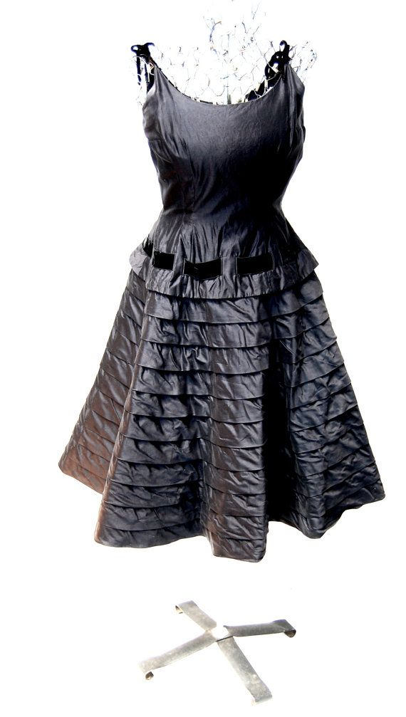Vintage 1950's Black Dress with Tiered Skirt by CoziDivaBoutique, $110.00