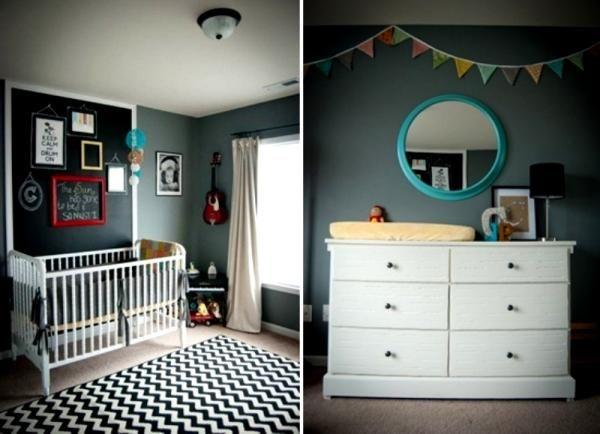 baby- und kinderzimmer schwarze Wand bunte deko bilderahmen ...
