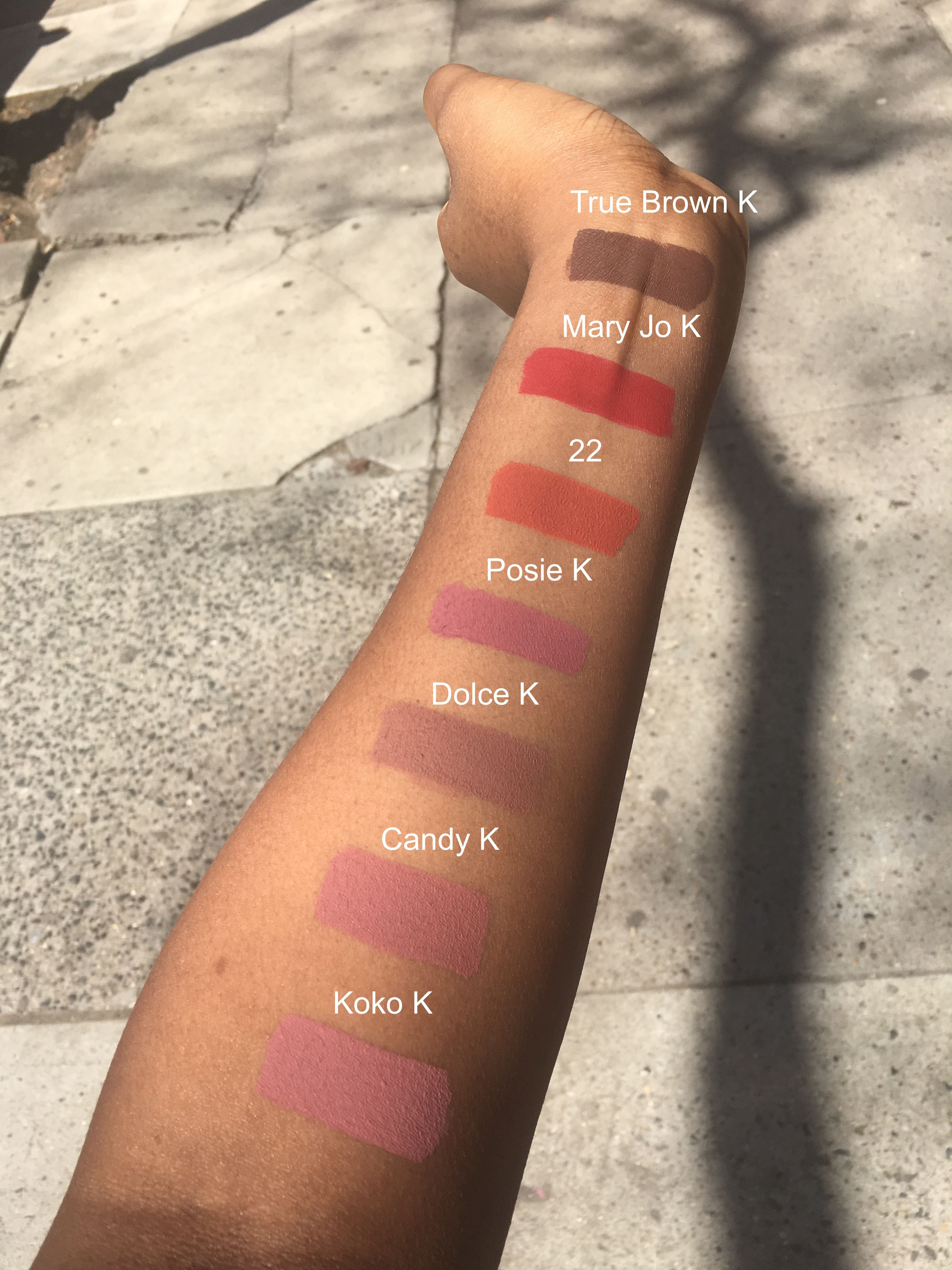 Kylie LipKit arm swatches and review on NC45 complexion