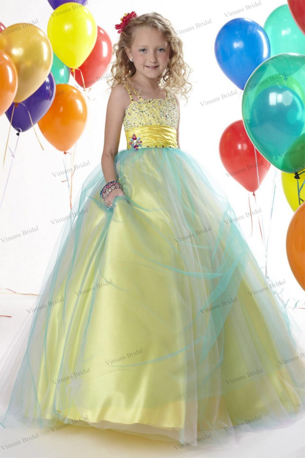 Free shipping new girls pagent dresses crystal yellow ball gown