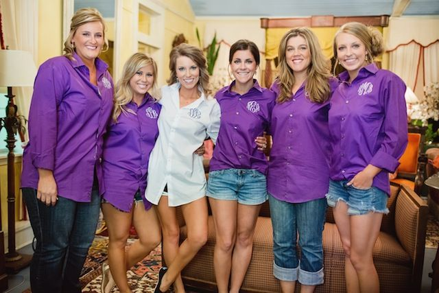 Monograms! Shirts for the bride and bridesmaids in the wedding colors.