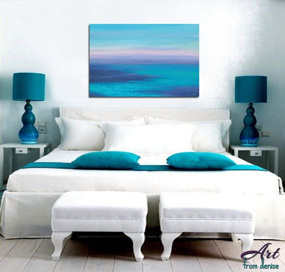 Beachy Wall Art Canvas Abstract Ocean Sunset Navy Blue