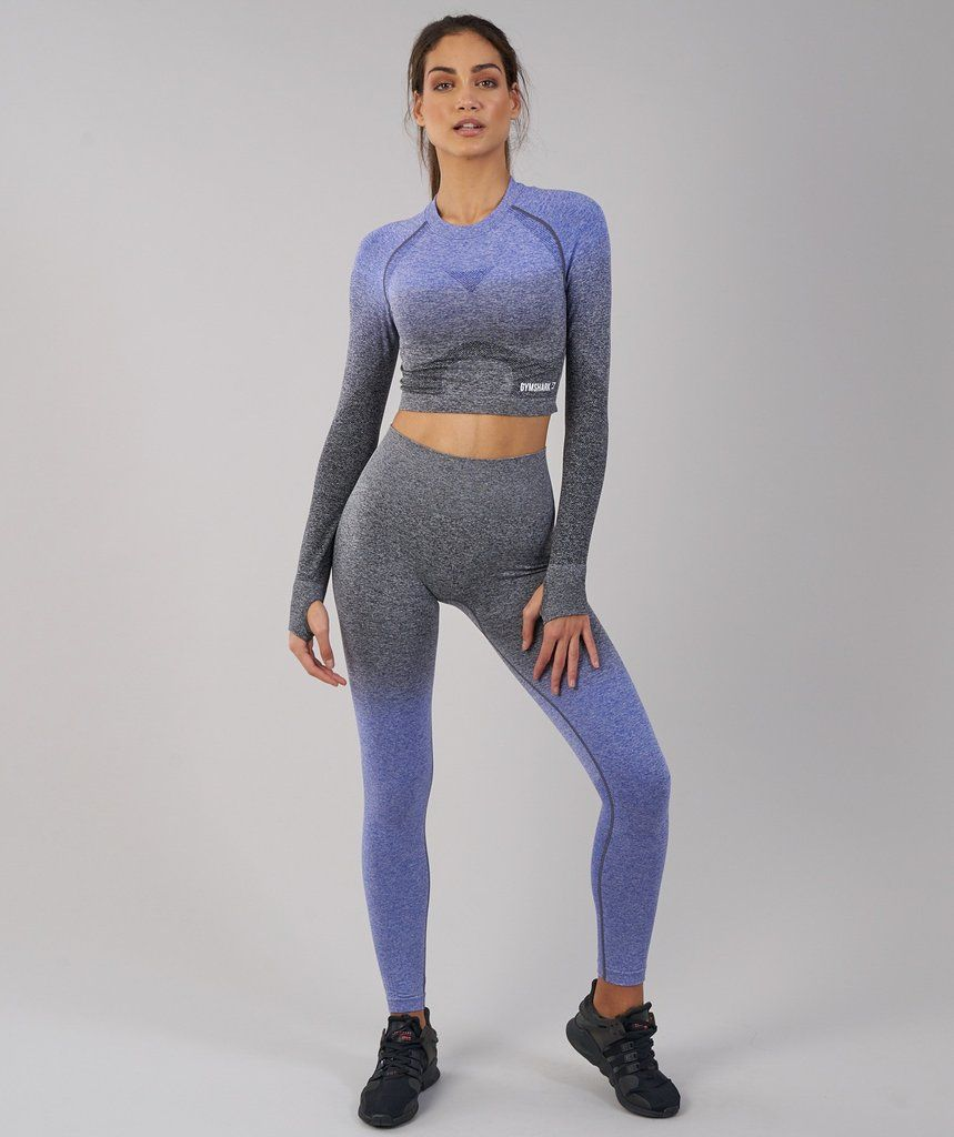 18e96d5db8366 Gymshark Ombre Seamless Crop Top - Indigo/Black in 2019 | Fitness ...