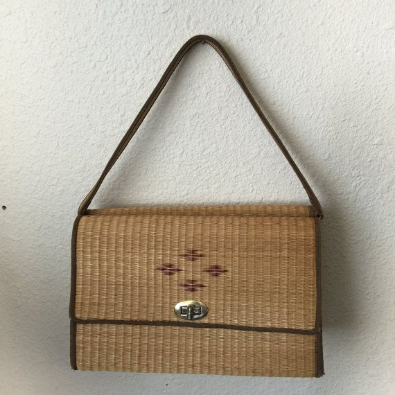 Items similar to Straw Handbag Purse Shoulder Bag from Thailand Woven Straw Double Sided Vintage on Etsy