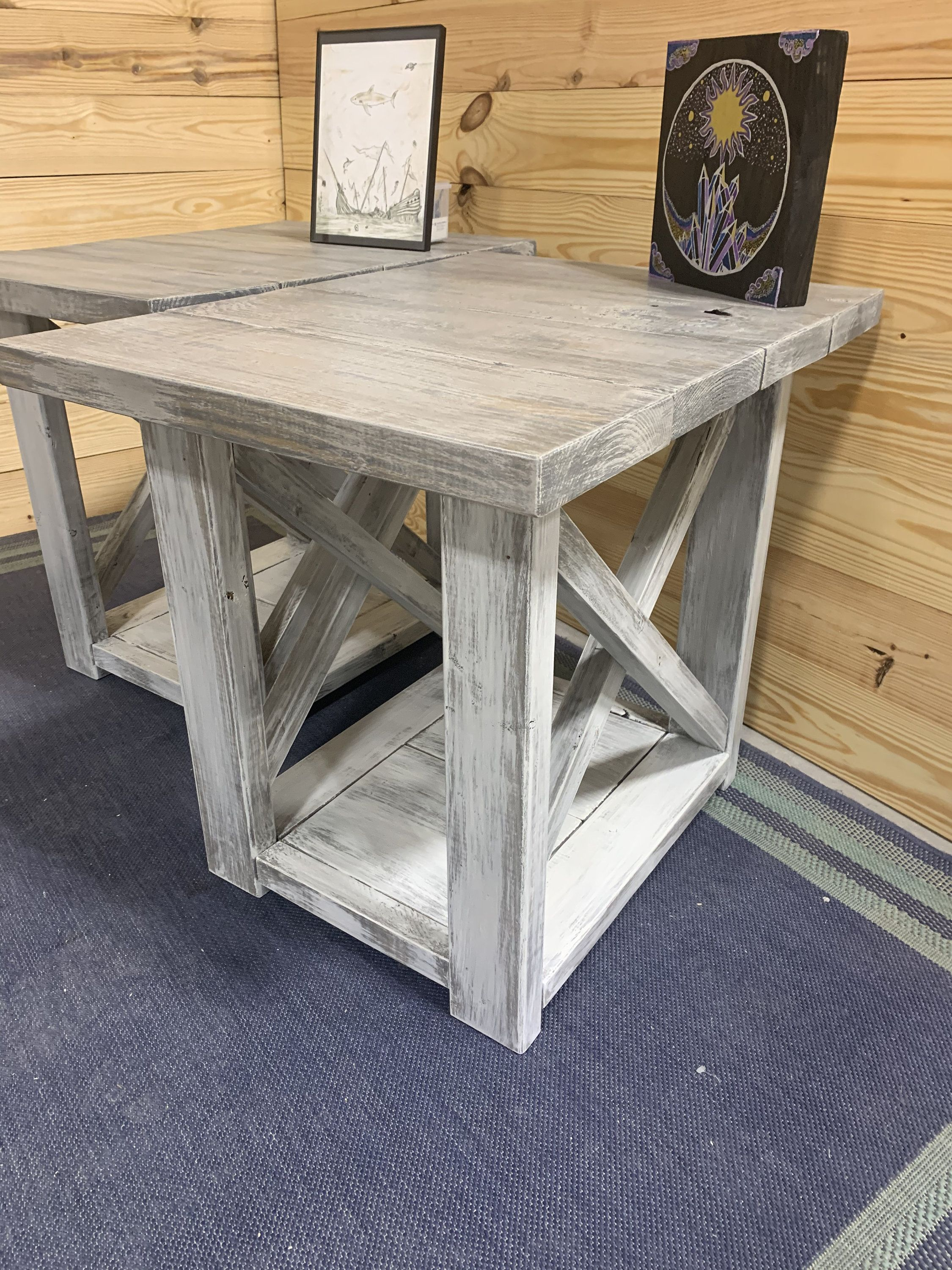 Large Rustic Farmhouse Style End Table Set Wooden Side Tables With A White Wash Top And Whit Distressed Base Living Room Set With Storage Wooden Side Table Rustic Farmhouse Style Living