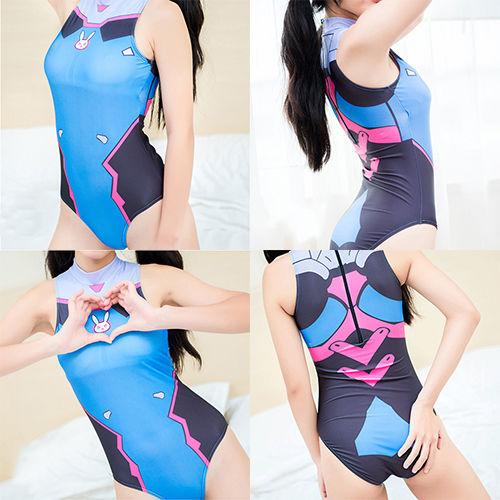 c275c58a61d9c Hot Overwatch Ow Game D. Va Swimsuit Swimwear Teenager Girl Cosplay Costume  Suit