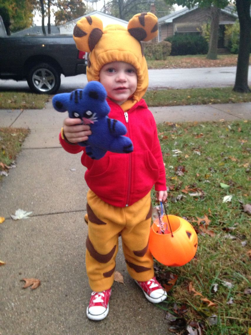 Daniel tiger costume. Made from red hoodie and fleece material